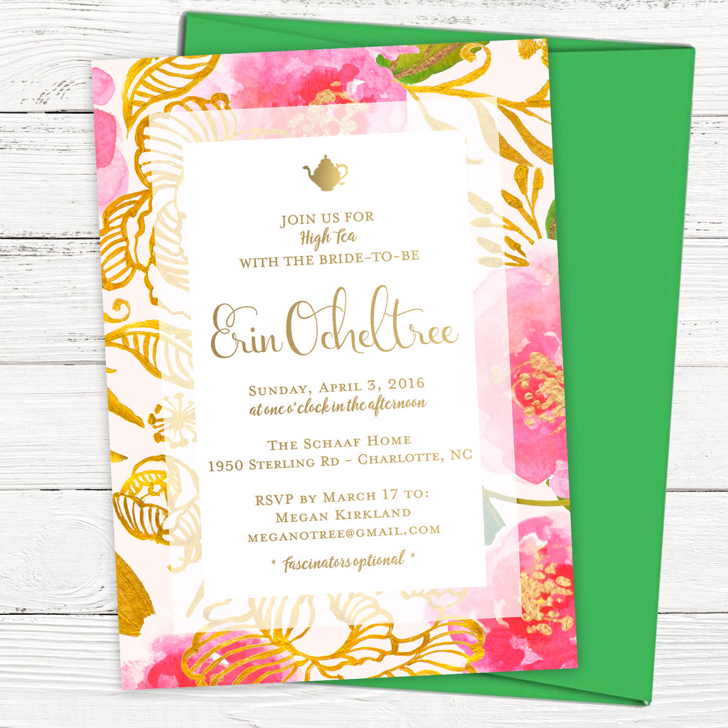 Gold Tea Bridal Shower Invitation