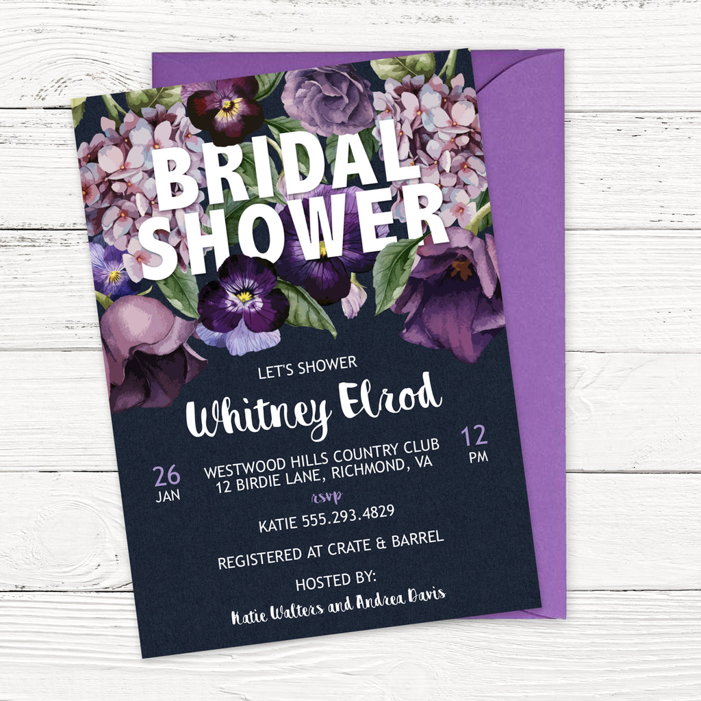 Purple Winter Flowers Bridal Shower Invitation