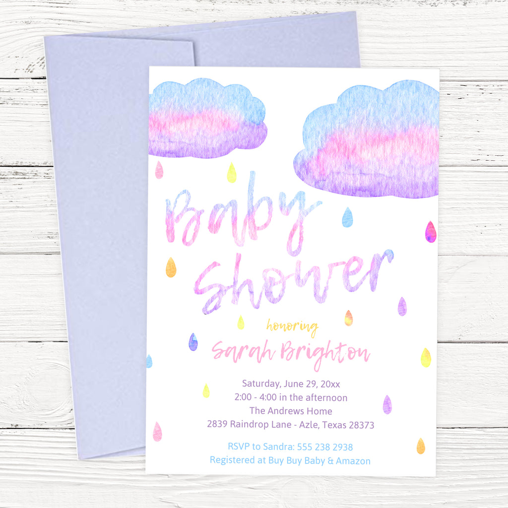 Watercolor Raindrop Baby Shower Invitation