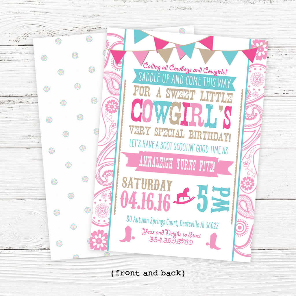 Rhinestone Cowgirl Birthday Invitation