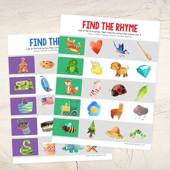 8 Worksheets for Practicing Rhyming Words