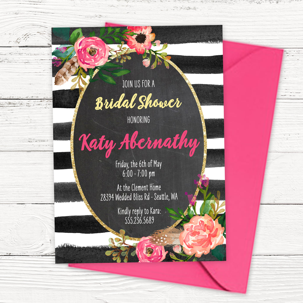 Romance in Bloom Watercolor Bridal Shower Invitation