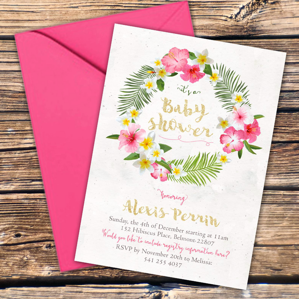 Tropical Hibiscus Flower Baby Shower Invitation