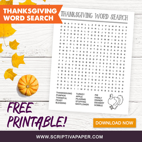 FREE Printable Thanksgiving Word Search