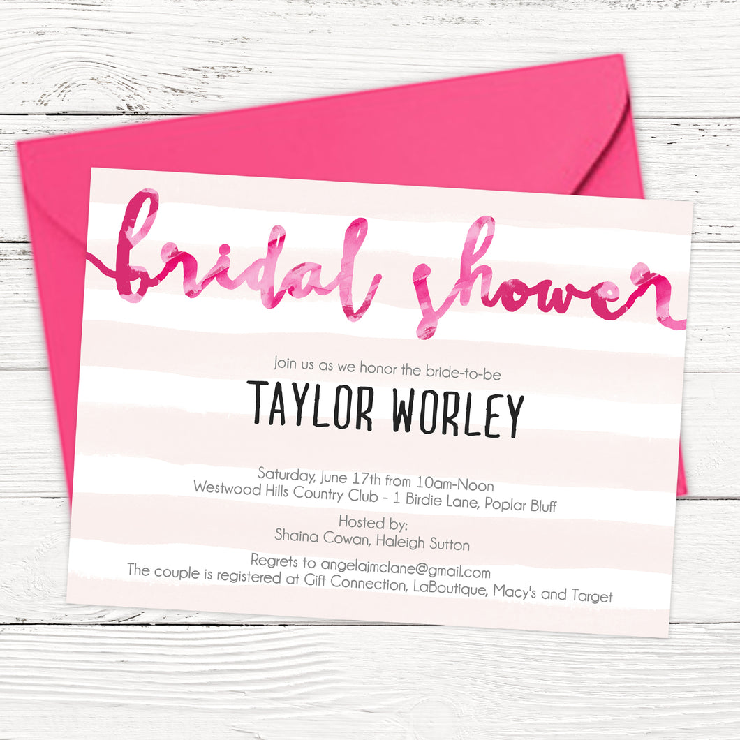 FREE Pink Bridal Shower Invitation Template