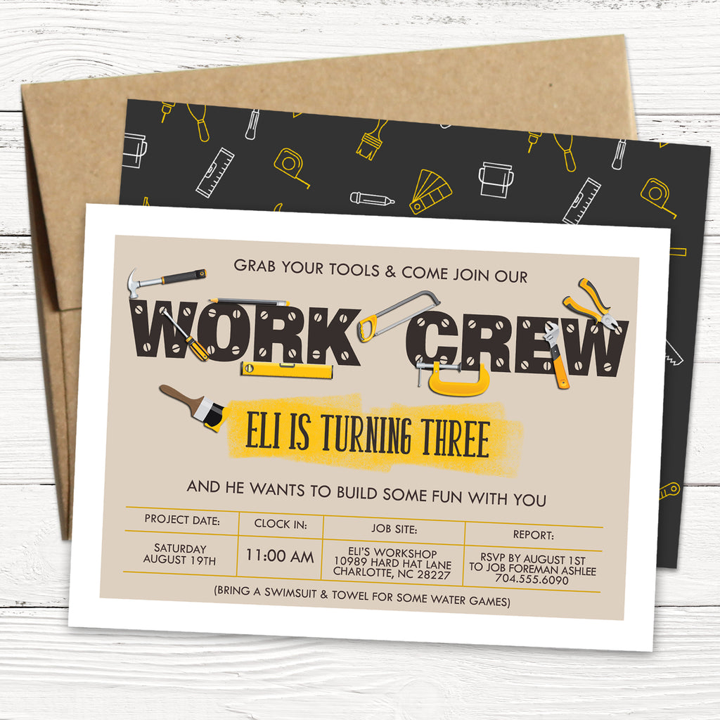 Construction Tools Birthday Invitation