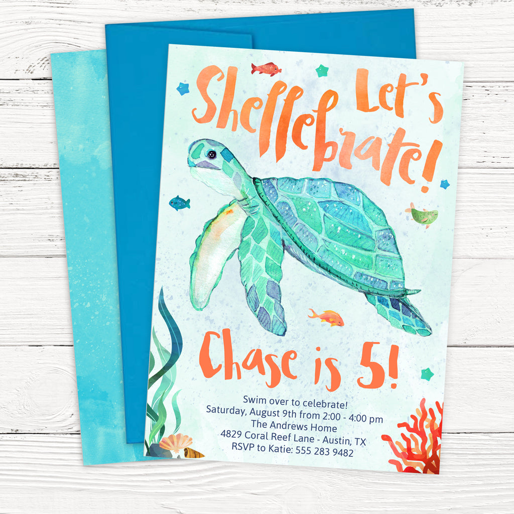 Sea Turtle Birthday Invitation