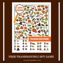 Load image into Gallery viewer, FREE Printable Thanksgiving Activity Sheet -  I Spy Game