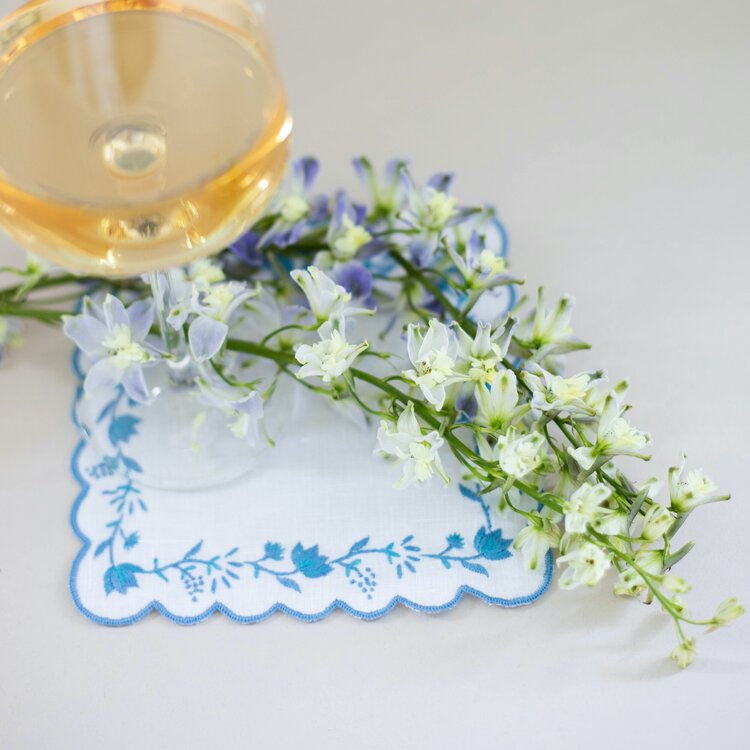 Hand Embroidered Blue Floral Cocktail Napkin Set
