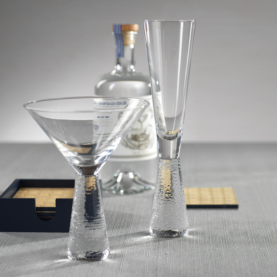 Hammered Martini Glass