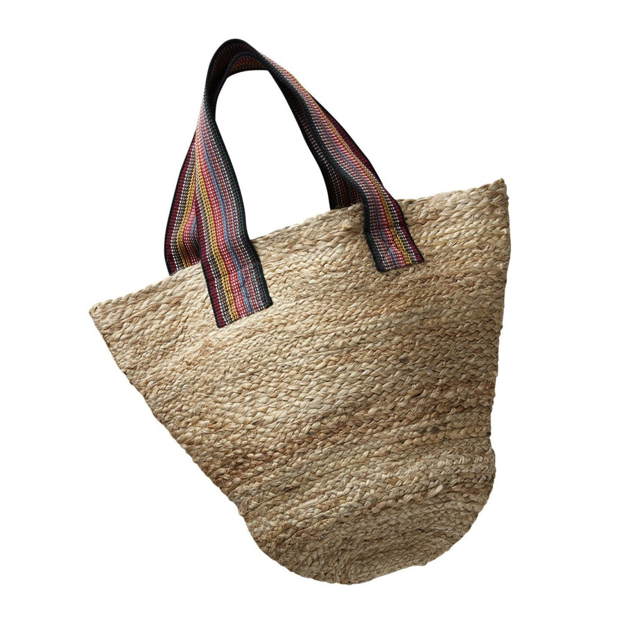 Mersea Jute Bag with Multi Color Stripe