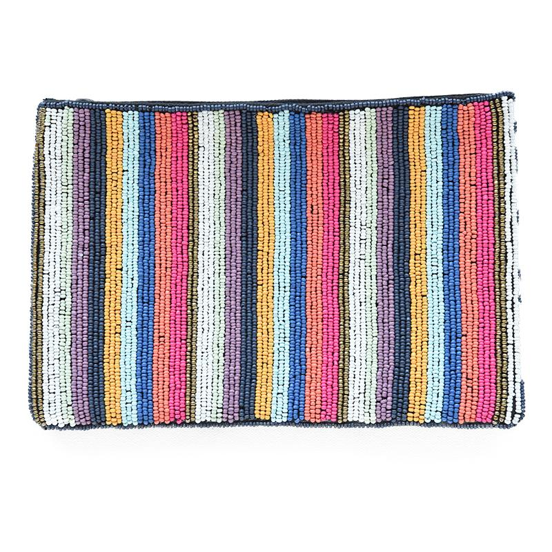 Ink and Alloy Multi Mini Stripe Beaded Clutch
