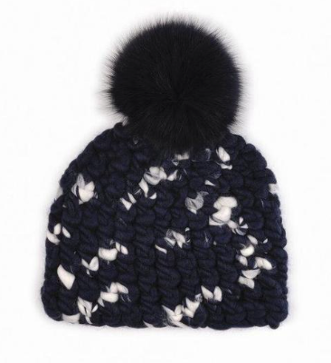 Mischa Lampert Beanie in Navy and White