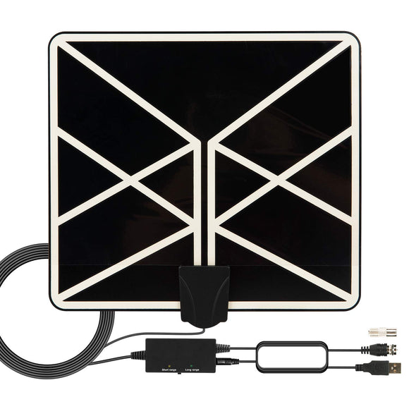 HDTV Antenna 4K 1080p, 2019 New Indoor Amplified Digital TV Antenna 120 Miles Range with Amplifier Signal Booster Free Local Channels with 18 FT Coaxial Cable - Graphene Theory