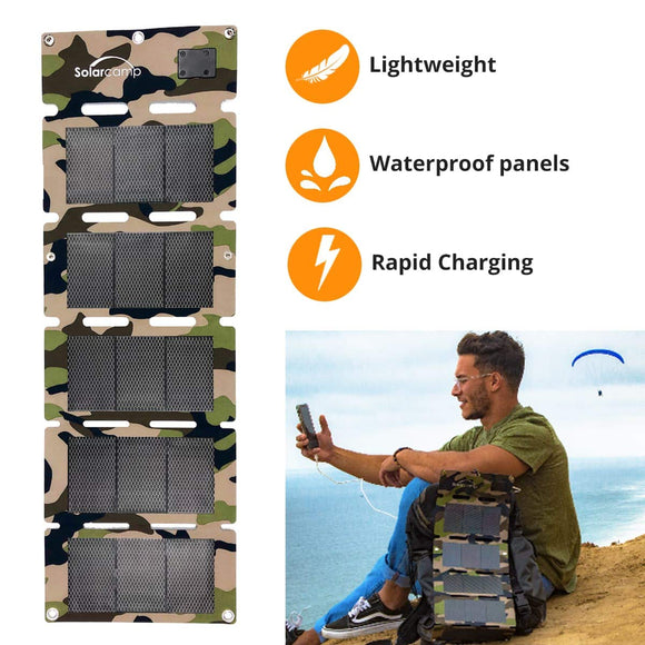 Solar Camp 5V 10W Portable USB Solar Charger Waterproof Foldable Camping Travel Charger Compatible iPhone Xs XS Max XR X 8 7 Plus, iPad(ipad pro Exclusive), Galaxy S9 S8 Edge Note 8, Nexus, GPS - Graphene Theory