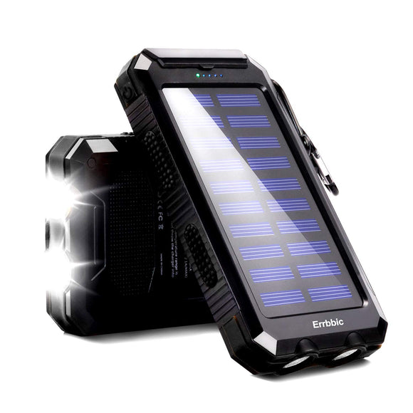 20000mAh Solar Power Bank Solar Charger Waterproof Portable Battery Charger with Compass for iPad iPhone Android Cellphones (Black) - Graphene Theory