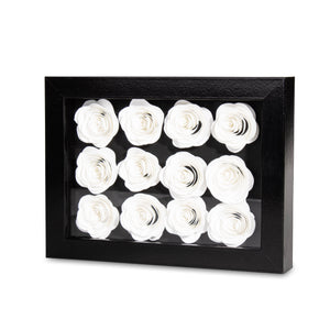 Shadow Box with White Roses by Diamond Rose® - Palm Bites®
