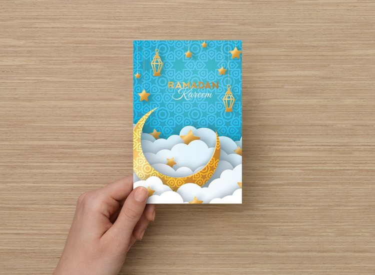 Load image into Gallery viewer, Ramadan Kareem Card (Light Blue) - Palm Bites®