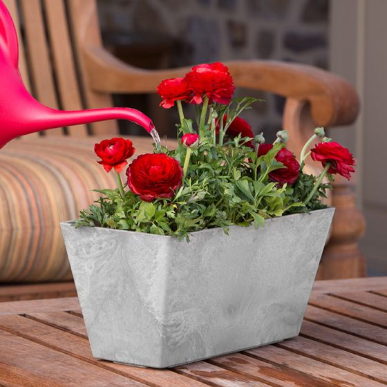 Ella Rectangle Pot - Grey - 14.5-inches