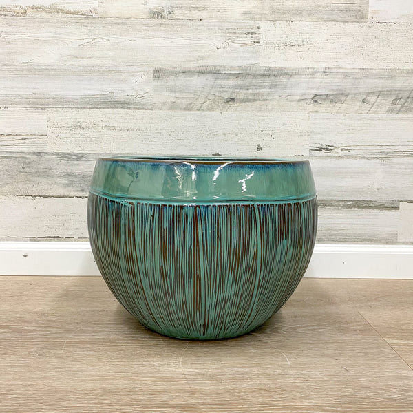 Halona Planter - Blue/Green - 16-inches