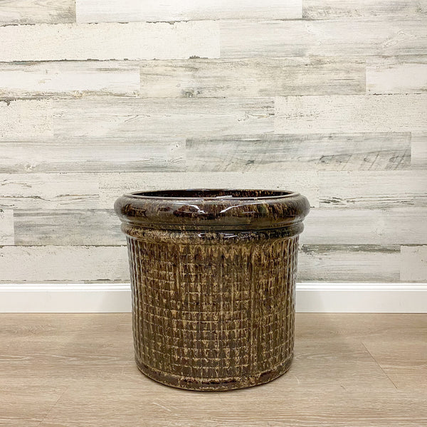 Punchcard Planter - Brown - 16-inches