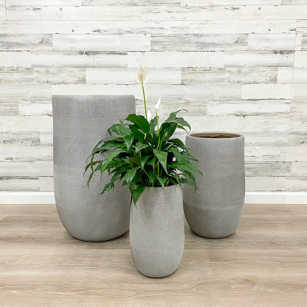 Fiberclay Tall Mixed Stripe Planter - Taupe - 10-inches