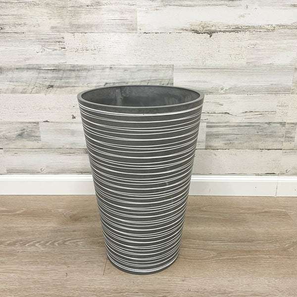Tall Round Planter Grey - 12-inches