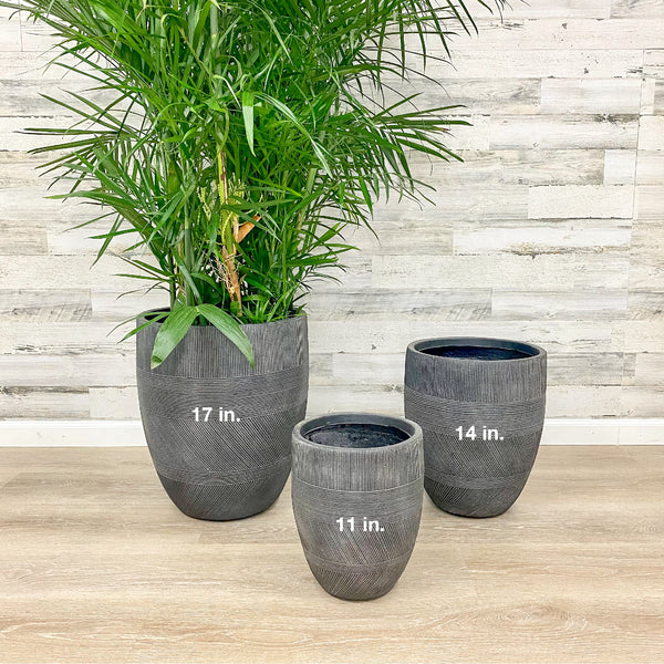Fiberclay Mixed Stripe Planter - Black - 17-inches