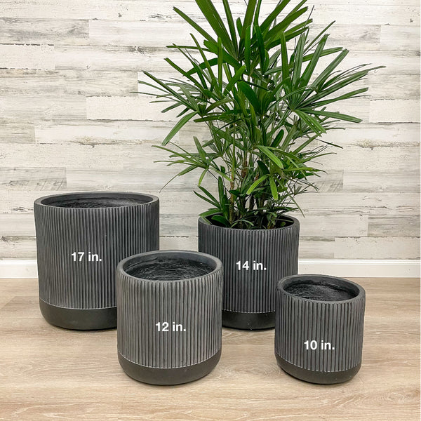 Fiberclay Ribbed Cylinder - Black - 14-inches