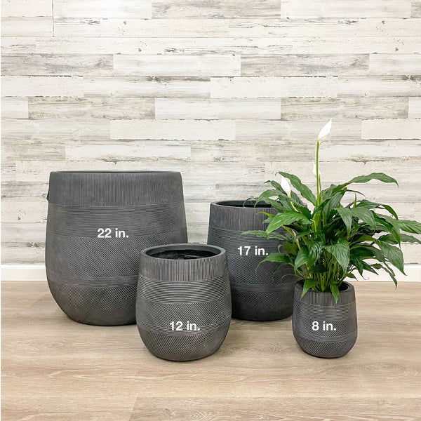 Fiberclay Tall Belly Planter - Black - 8-inches