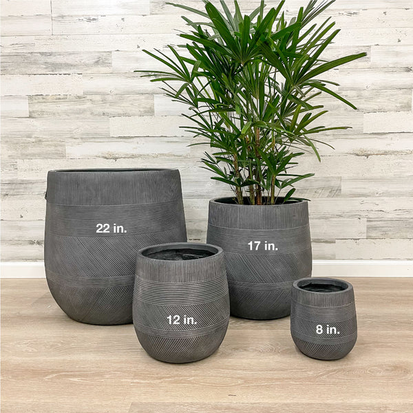 Fiberclay Tall Belly Planter - Black - 17-inches
