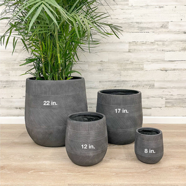 Fiberclay Tall Belly Planter - Black - 22-inches