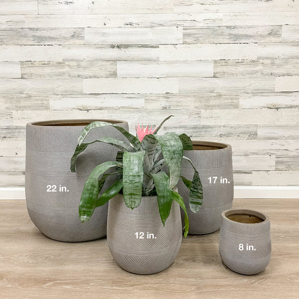 Fiberclay Tall Belly Planter - Taupe - 12-inches