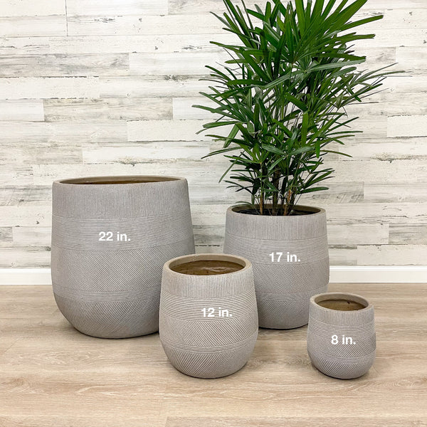 Fiberclay Tall Belly Planter - Taupe - 17-inches