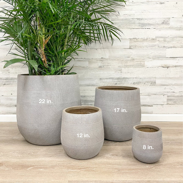 Fiberclay Tall Belly Planter - Taupe - 22-inches