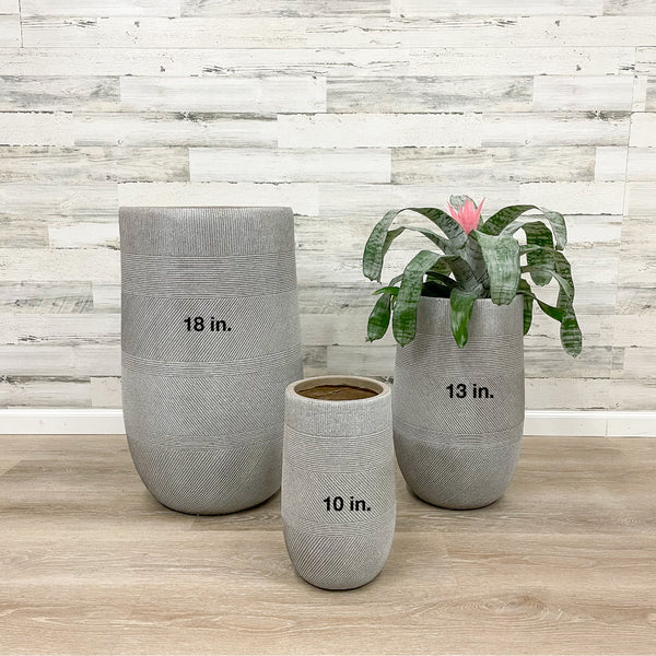 Fiberclay Tall Mixed Stripe Planter - Taupe - 13-inches
