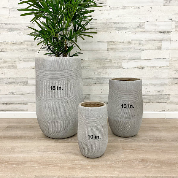 Fiberclay Tall Mixed Stripe Planter - Taupe - 18-inches