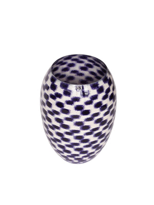 Purple And White Step Barrel Vase Small