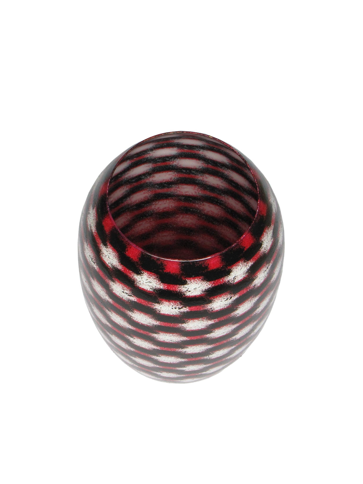 White on Red Teleport Barrel Vase MED