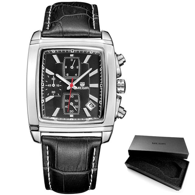 Men's chronograph leather band watch
