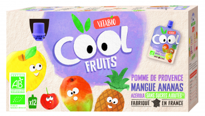 COOL FRUITS 12*90G POMME MANGUE ANANAS