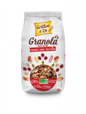 GRANOLA CANNEBERGE COURGE NOIX BRESIL 375G