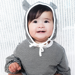 STRIPED SWEATSHIRT with BONNET | Black/White