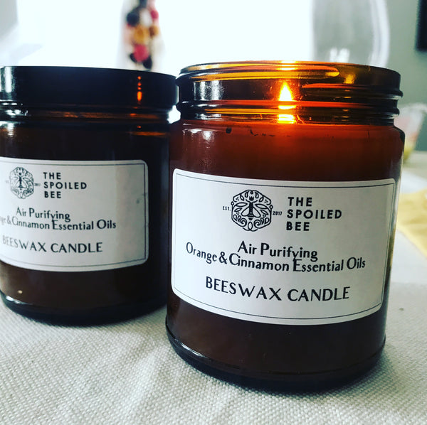 Sweet Orange and Spicy Cinnamon Beeswax Candle
