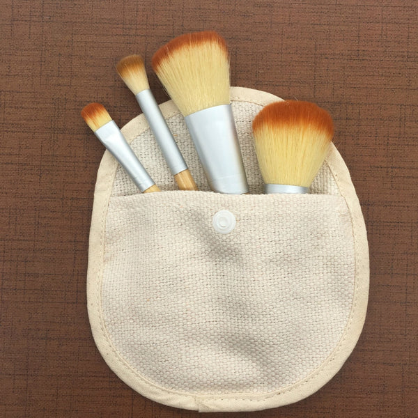4Pcs Bamboo Makeup Brush Set Professional