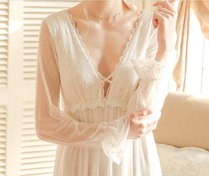 Sheer Long-Sleeve Nightgown