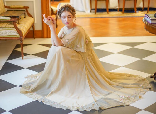 Beautiful nightgown in gold chiffon, embroidery, with Victorian influence.