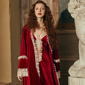 Image of a woman wearing the Ruby Red Margaret Lawton Glamorous Nightgown set.