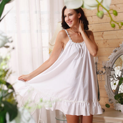 Short Cotton Ruffle Nightgown
