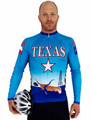 Texas Cool Blue Long Sleeve Bike Jersey - Closeout - Free Spirit Wear Bike Jerseys